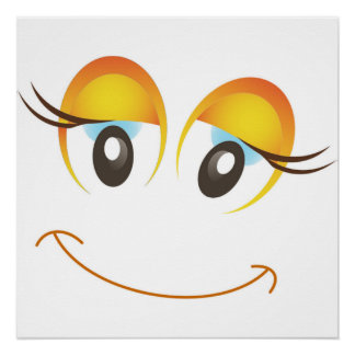 HAPPY GIRL SMILEY FACE POSTER
