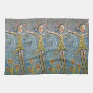 happy girl tea towel