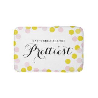 Happy Girls Are The Prettiest Quote Confetti Dots Bath Mat