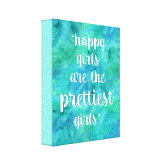 Happy Girls quote watercolor in aqua blue Canvas Print