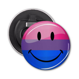 Happy Glossy Bisexuality Pride Flag Button Bottle Opener