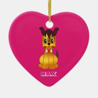 Happy Golden Dog Ceramic Ornament