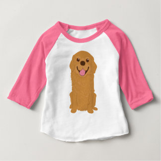 Happy Golden Retriever Illustration Baby T-Shirt