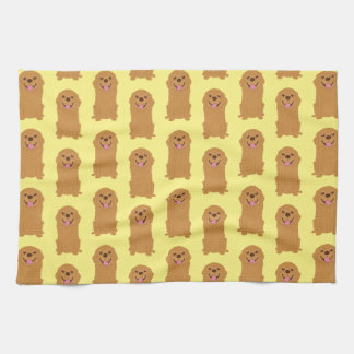 Happy Golden Retriever Illustration Kitchen Towel
