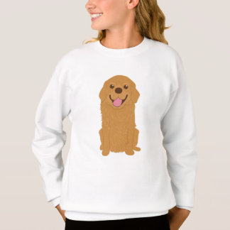 Happy Golden Retriever Illustration Sweatshirt