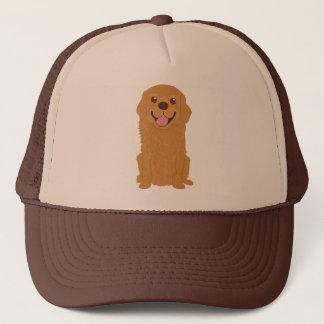 Happy Golden Retriever Illustration Trucker Hat