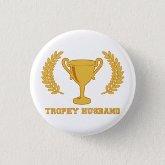 Happy Golden Trophy Husband 1 Inch Round Button