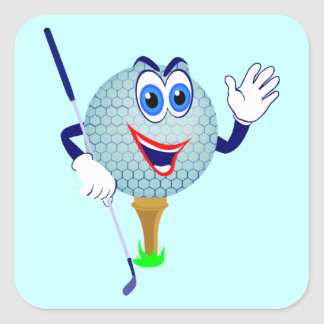 Happy Golf Ball T-shirts and Gifts Square Sticker