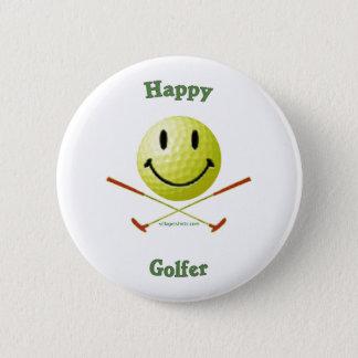 Happy Golfer Smiley Face 2 Inch Round Button