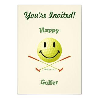 "Happy Golfer Smiley Face 5"" X 7"" Invitation Card"