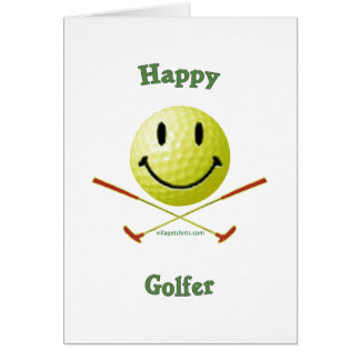 Happy Golfer Smiley Face Card