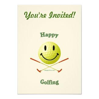 "Happy Golfing Smiley Golf Ball 5"" X 7"" Invitation Card"