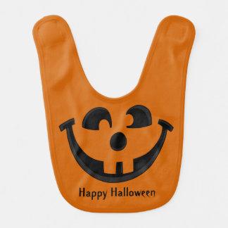 Happy Goofy Jack O Lantern Halloween Pumpkin Face Bib