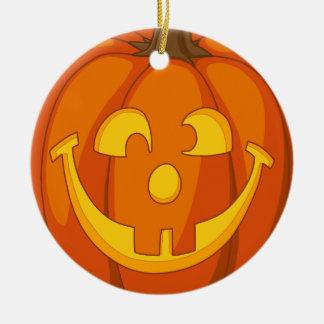 Happy Goofy Jack O Lantern Halloween Pumpkin Face Ceramic Ornament