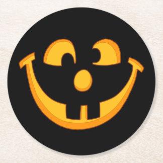 Happy Goofy Jack O Lantern Halloween Pumpkin Face Round Paper Coaster