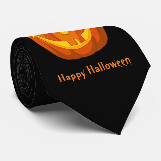 Happy Goofy Jack O Lantern Halloween Pumpkin Face Tie