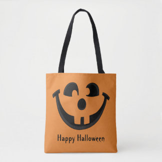 Happy Goofy Jack O Lantern Halloween Pumpkin Face Tote Bag