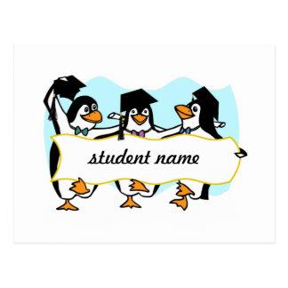 Happy Graduating Dancing Penguins w/Banner Postcard