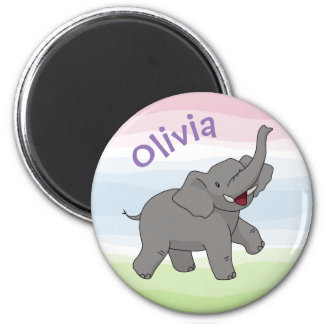 Happy Gray Elephant Personalized Magnet