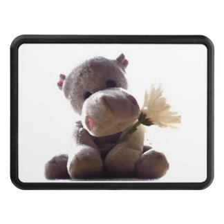 Happy Gray Hippo with Daisy Drawing Photograph Tow Hitch Cover