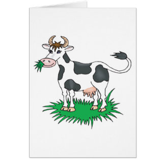 happy grazing cow greeting card