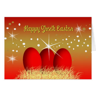 Happy Greek Easter Red Eggs Card
