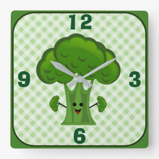 Happy Green Broccoli Square Wall Clock
