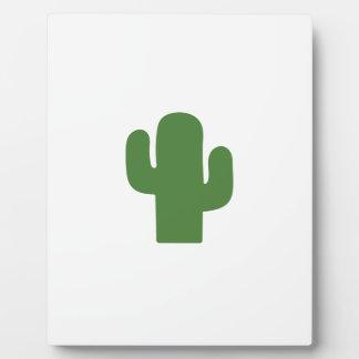 Happy green cactus in pink summer plaque