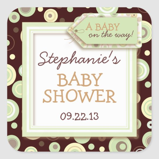 Happy Green Dots Neutral Baby Favour & Seal