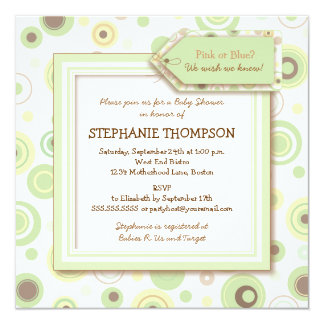 Happy Green Dots Neutral Baby Shower Invitation