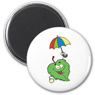 Happy Green Leaf With Umbrella 2 Inch Round Magnet