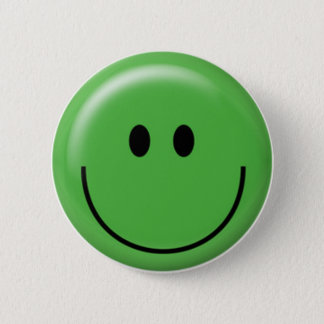Happy green smiley face 2 inch round button