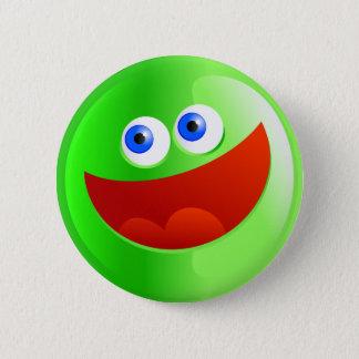 Happy Green Smilie 2 Inch Round Button