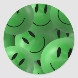 HAPPY GREEN SMILIE FACES CIRCLES LAYERED PATTERN W ROUND STICKER