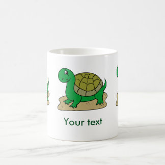 Happy green turtle. Customize name Coffee Mug