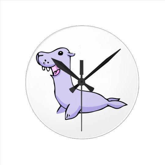 Happy Grey/Grey Cartoon Seal Facing to the Left Round Clock