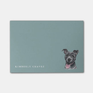 Happy Grey Pit Bull Dog Drawing Post-it® Notes