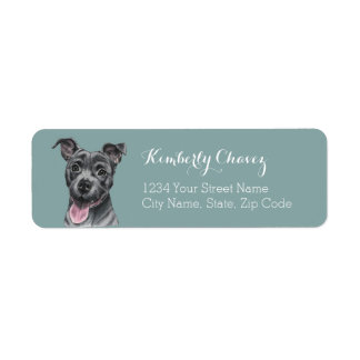 Happy Grey Pit Bull Dog Drawing Return Address Label