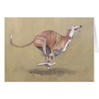 Happy Greyhound Dog Art Note Card