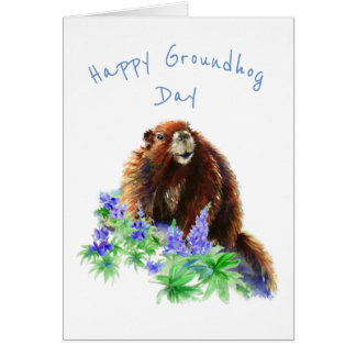 Happy Groundhog Day Fun Spring Animal Watercolor Card