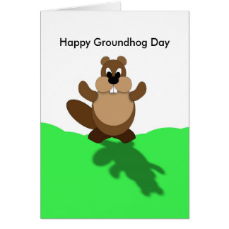 Happy Groundhog Day, Groundhog Arms Up Card