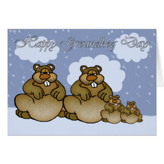 Happy Groundhog Day, Groundhog family Card