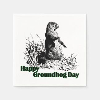Happy Groundhog Day Party Paper Napkins