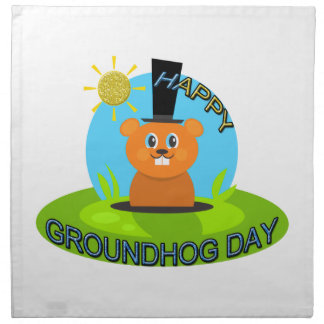 Happy Groundhog Day Sunshine Printed Napkin