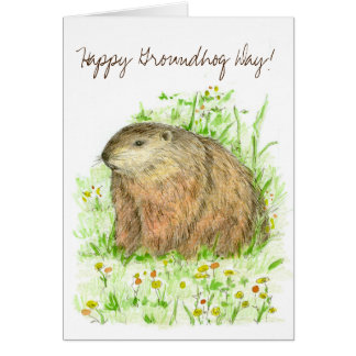 Happy Groundhog Day Woodchuck Drawing Card