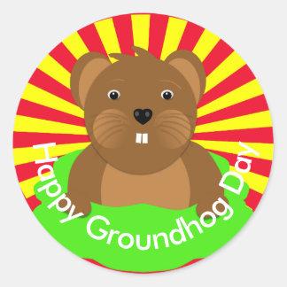 Happy Groundhogs Day Celebration Party Classic Round Sticker