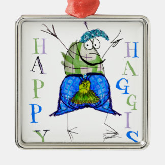 happy haggis metal ornament