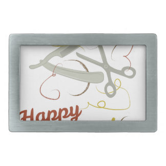 Happy Haircut Rectangular Belt Buckle