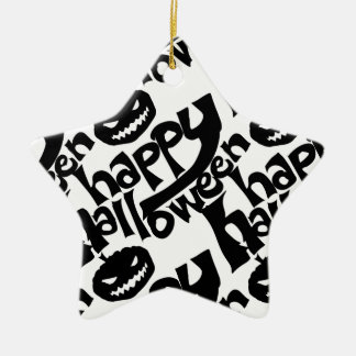 happy hallloween tiled black and white ceramic star ornament