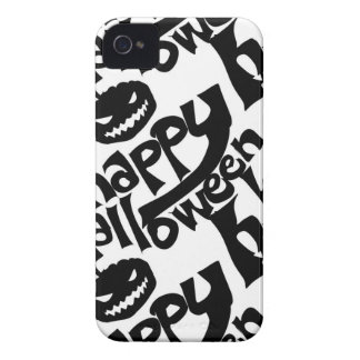 happy hallloween tiled black and white iPhone 4 cases
